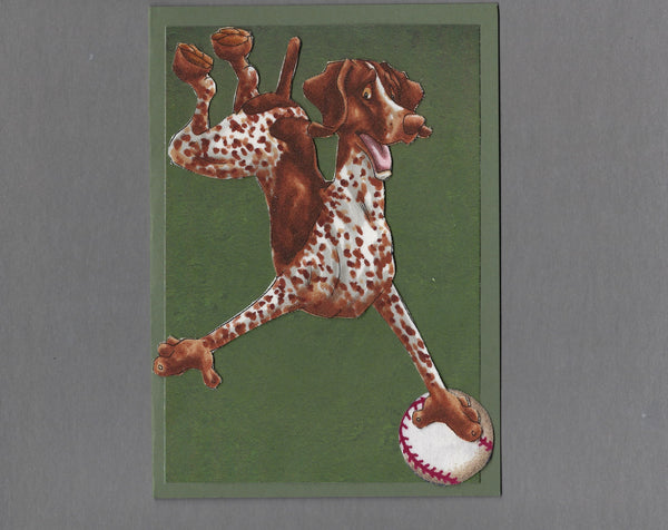 Handmade Fabric Have a Ball German Shorthaired Pointer Dog Blank Greeting Card