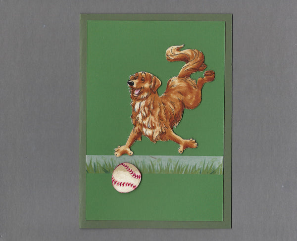 Handmade Fabric Have a Ball Golden Retriever Dog Blank Greeting Card