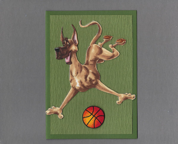 Handmade Fabric Have a Ball Great Dane Dog Blank Greeting Card
