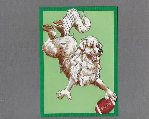 Handmade Fabric Have a Ball Great Pyrenees Dog Blank Greeting Card