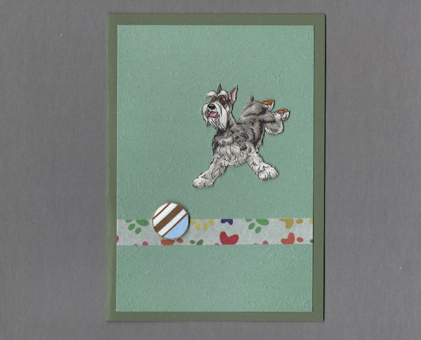 Handmade Fabric Have a Ball Schnauzer Dog Blank Greeting Card