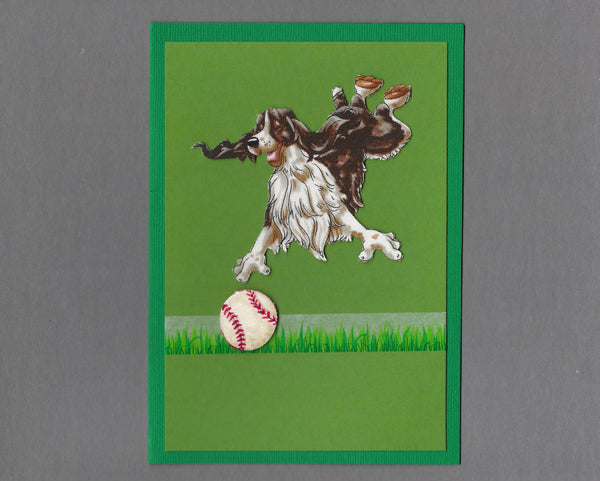 Handmade Fabric Have a Ball Springer Spaniel Dog Blank Greeting Card