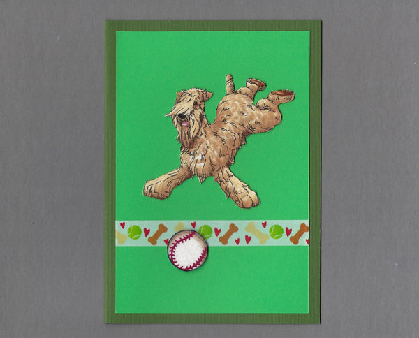 Handmade Fabric Have a Ball Wheaten Terrier Dog Blank Greeting Card