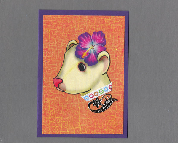 Handmade Fabric Hawaiian Girl Ferret Blank Greeting Card