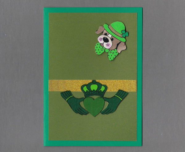 Handmade Fabric St. Patrick's Day Pit Dog & Claddagh Dog Blank Greeting Card