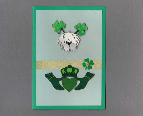 Handmade Fabric St. Patrick's Day White Fluffy Dog & Claddagh Dog Blank Greeting Card