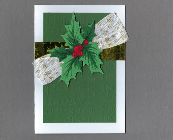 Handmade Holly Sprig with Star Bow Christmas Holiday Blank Greeting Card