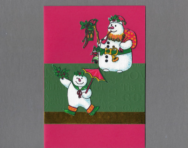 Handmade Fabric Holly Snowman Santa and Helper Christmas Blank Greeting Card