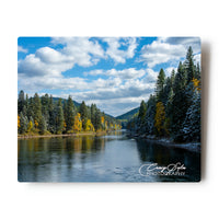 First Snowfall Along The South Fork Of The Flathead River 8 X 10 Metal Print