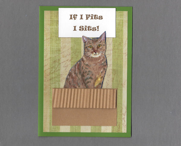 Handmade Fabric If I Fits I Sits! Brown Tabby Cat Blank Greeting Card
