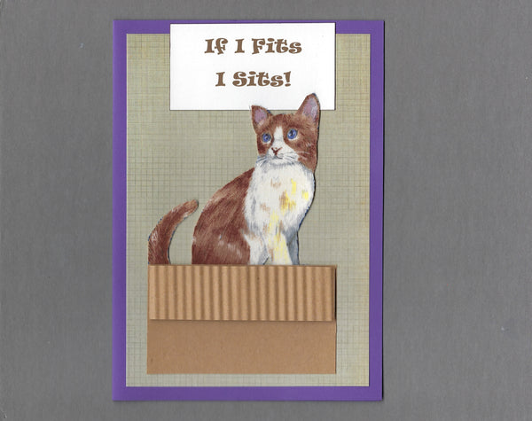Handmade Fabric If I Fits I Sits! Brown & White Cat Blank Greeting Card