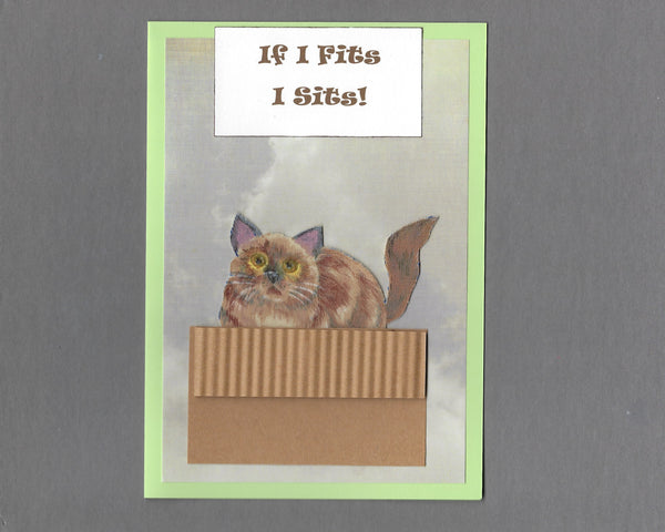 Handmade Fabric If I Fits I Sits! Siamese Cat Blank Greeting Card
