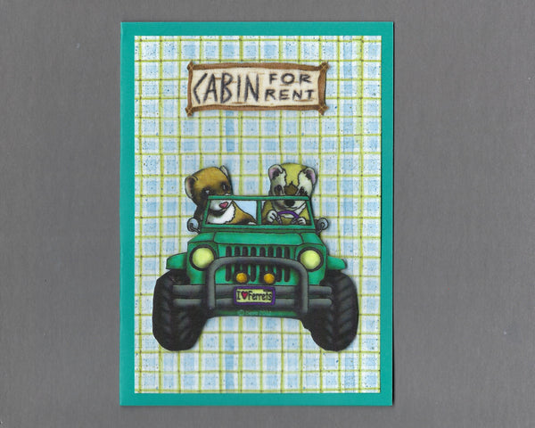 Handmade Fabric Jeep Boys Ferret Blank Greeting Card