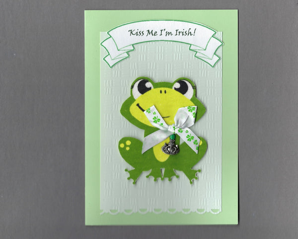 Handmade Fabric Light Green Kiss Me I'm Irish Frog St. Patrick's Day Blank Greeting Card
