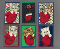 Handmade Fabric Kittens in Mittens Cat Christmas Blank Gift Enclosure Set