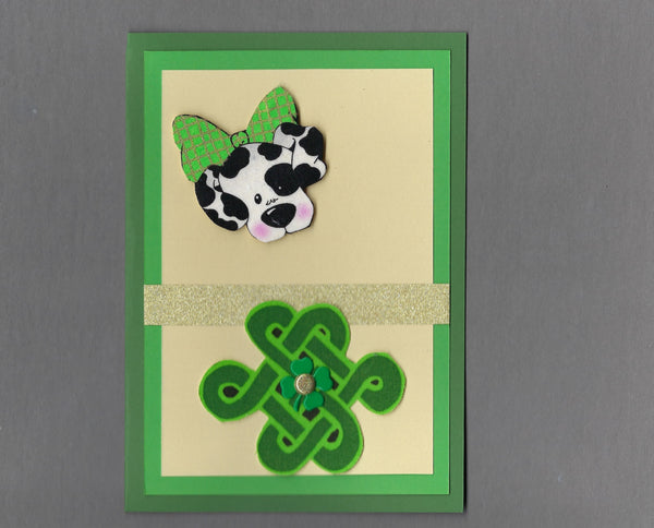 Handmade Fabric St. Patrick's Day Black & White Spotted Dog & Celtic Knot Dog Blank Greeting Card