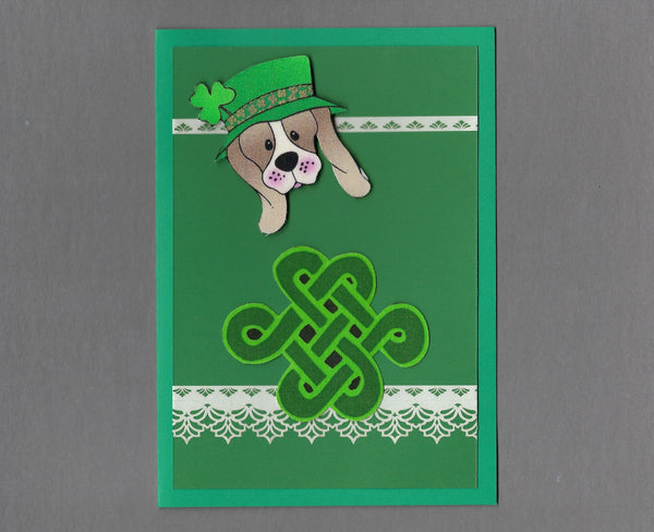 Handmade Fabric St. Patrick's Day Hound Dog & Celtic Knot Dog Blank Greeting Card