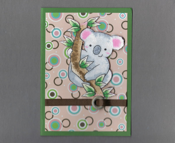 Handmade Fabric Koala Climbing Blank Greeting Card
