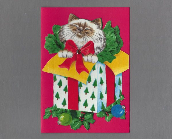 Handmade Fabric LAB Cat in Box Blank Christmas Greeting Card