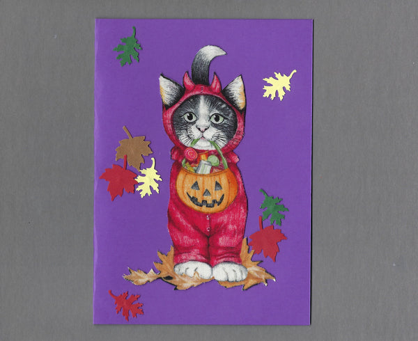 Handmade Fabric Halloween Devil Cat Blank Greeting Card
