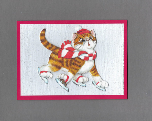 Handmade Fabric LAB Ice Skating Cat Blank Christmas Greeting Card