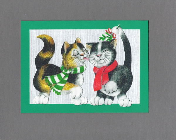 Handmade Fabric LAB Mistletoe Cats Blank Christmas Greeting Card