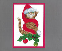 Handmade Fabric LAB Santa Cat Blank Christmas Greeting Card