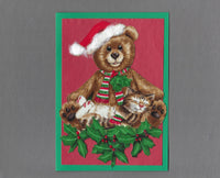 Handmade Fabric LAB Teddy Bear with Sleeping Cat Blank Christmas Greeting Card