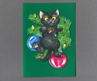 Handmade Fabric Black Cat Playing in the Christmas Tree Blank Greeting Card