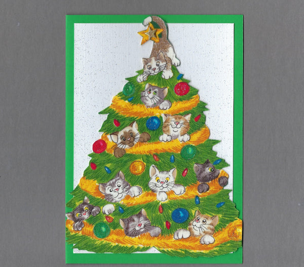 Handmade Fabric Cats in Christmas Tree Blank Greeting Card