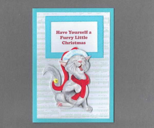 Handmade Fabric Singing Grey White Long Haired Cat Christmas Blank Greeting Card