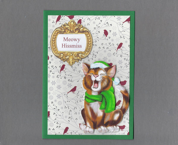Handmade Fabric Singing Brown Tabby Christmas Blank Greeting Card