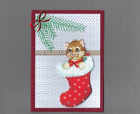 Handmade Fabric Brown Tabby Cat in Stocking Christmas Blank Greeting Card