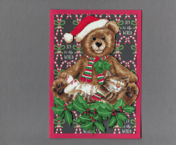 Handmade Fabric Brown Tabby Cat Sleeping on Christmas Teddy Bear Blank Greeting Card