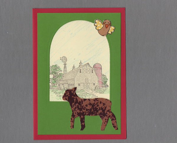 Handmade Custom Large Animal Lambert the Sheep or Lamb Blank Greeting Card