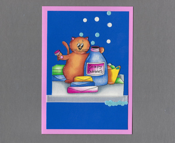 Handmade Fabric Laundry Cats Bubble Trouble Cat Blank Greeting Card