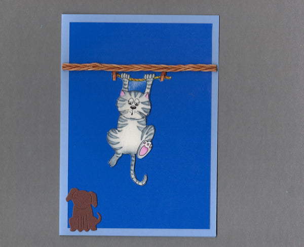 Handmade Fabric Laundry Cats Hang in There Cat Blank Greeting Card