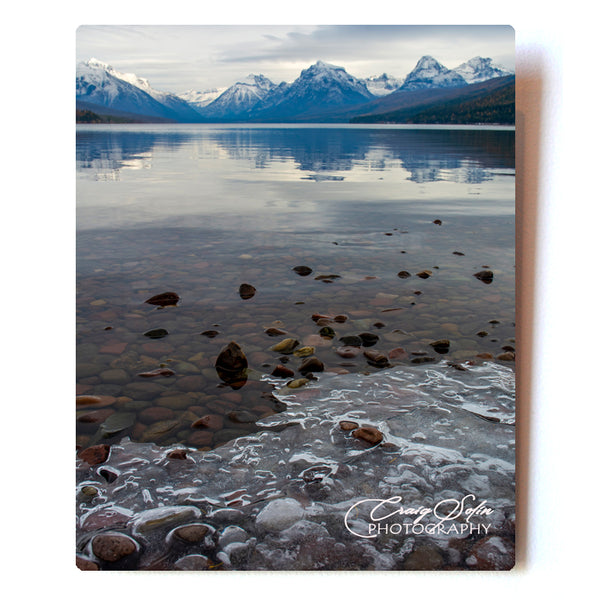 Ice Forming on Lake McDonald in Glacier National Park 8 X 10 Photographic Metal Print