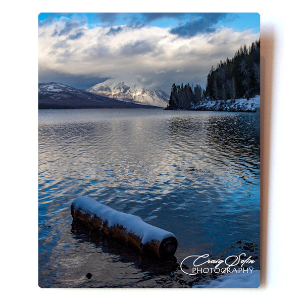 Dusting OF Snow On The Shores Of Lake McDonald In Glacier National Park 8 X 10 Photographic Metal Print