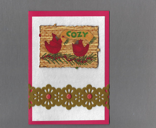 Handmade Fabric Cozy Cardinals Christmas Bird Blank Greeting Card