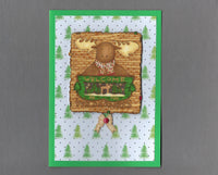Handmade Fabric Moose Welcome Christmas Blank Greeting Card