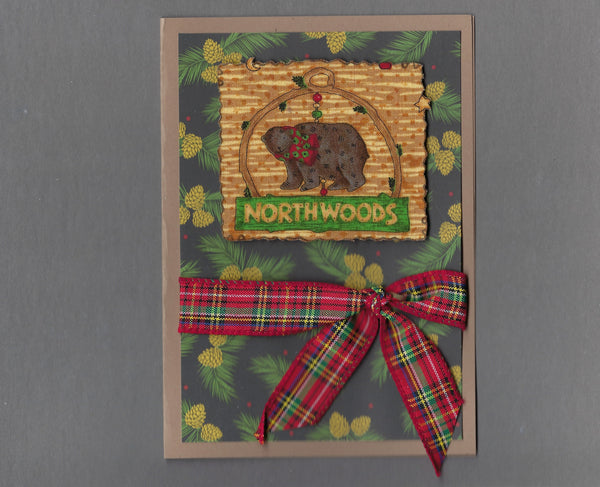 Handmade Fabric Northwoods Bear Christmas Blank Greeting Card