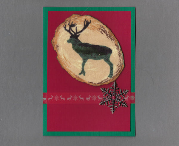 Handmade Flannel Fabric Log Elk Christmas Holiday Blank Greeting Card