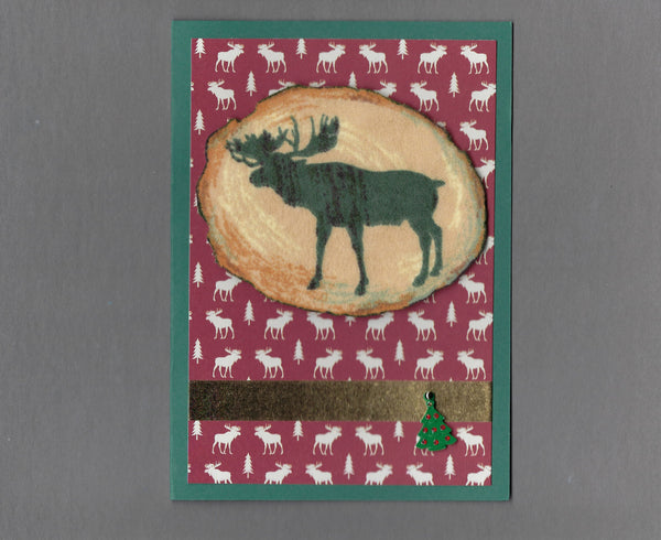 Handmade Flannel Fabric Log Moose Christmas Holiday Blank Greeting Card