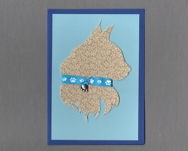 Handmade Custom Longhaired Silhouette Blue Cat Blank Greeting Card