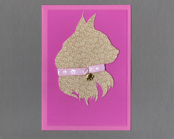 Handmade Custom Longhaired Cat Silhouette Pink Cat Blank Greeting Card