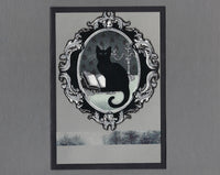 Handmade Fabric Halloween Medallion Cat Blank Greeting Card