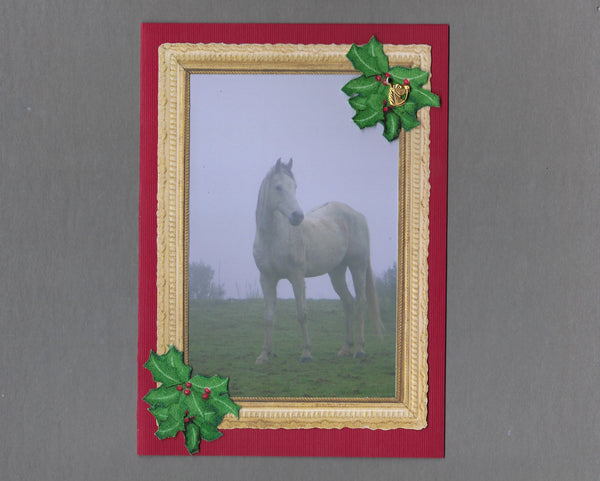Handmade Fabric Misty Morning Horse Christmas Blank Greeting Card