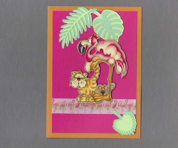 Handmade Fabric Tropical Friends Cat, Mouse & Flamingo Blank Greeting Card