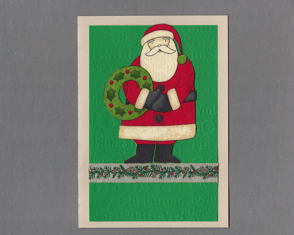 Handmade Fabric Thin Santa with Wreath Christmas Blank Greeting Card